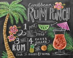 Tropical Recipe Print  Summer Print  Caribbean Rum by LilyandVal, $24.00