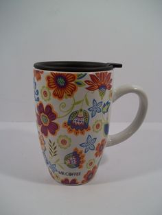 "Mr Coffee Ceramic Travel Coffee Cup Mug Spring Flowers ""FUN FLORAL""  Holds 17 Oz #MrCoffee"