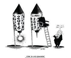 """OÖN-Karikatur vom 31. Dezember 2016: """"Time to say goodbye"""" Mehr Karikaturen auf: http://www.nachrichten.at/nachrichten/karikatur/ (Bild: Mayerhofer)"""