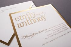 Our Gold Bordered invitation suite is shown here in detail, engraved in gold ink.