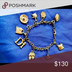 Authentic Vintage Christian Dior Charm Bracelet Set with 9 different charms in great condition Christian Dior Jewelry Bracelets