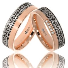 Verighete ATCOM Lux personalizate VIORICA aur alb cu roz Wedding Jewelry, Wedding Rings, Engraved Rings, Bangles, Bracelets, Engagement Rings, Band, Lime, Floral