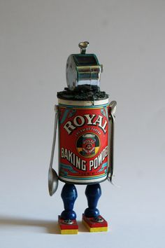 mixed media assemblage robot