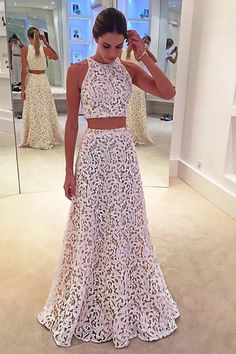 white lace round-neck 2 pieces long formal prom dresses