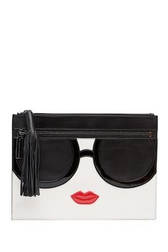 Stace Face Janis Leather Clutch by alice + olivia on Audrey Hepburn Style, Alice Olivia, Leather Clutch, Nordstrom Rack, Sunglasses Case, Handbags, Face, Clothing, Fashion