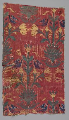 Fragment Date: 15th century Geography: Spain Culture: Islamic Medium: Silk; lampas Dimensions: Textile: H. 15 7/8 in. (40.3 cm) W. 8 1/2 in. (21.6 cm) Classification: Textiles-Woven