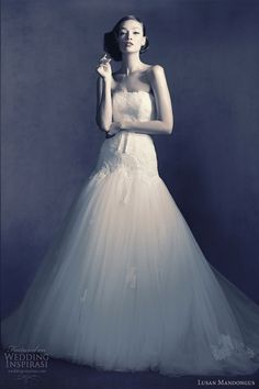 Bridal 2012. Strapless drop waist gown with billowy skirt. Elegant. #LusanMandongus #Bridal