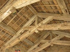 Oak Barnboard Ceiling and Hand Hewn Timber Trusses - Montana Reclaimed Lumber…