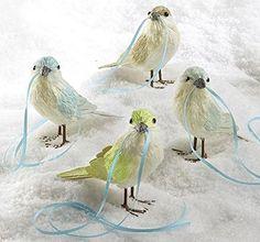 Martha Stewart Christmas Birds with Ribbon Trim
