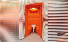 We are a global and creative design studio in Geneva, Tokyo and Beijing. Orange Sofa, Retail Experience, Retail Interior, Retail Space, Retail Design, Geneva, Creative Design, Blinds, Table Lamp