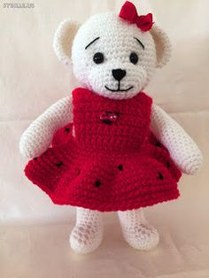 "Irmi's Teddy-Atelier : Teddy, crochet ""Miss Ladybug"" For more information come to my blog  irmisteddyatelier.blogspot.com"