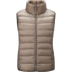 UNIQLO Ultra Light Down Vest ($45) ❤ liked on Polyvore featuring outerwear, vests, down filled vest, brown down vest, vest waistcoat, brown waistcoat and uniqlo vest