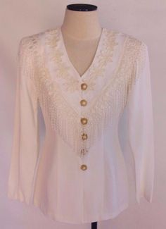 Vintage 80s Western Fringe Floral Applique Western Blazer Jacket White Sz 8 #Scarlett #Business