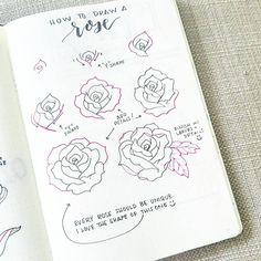 """98 Likes, 6 Comments - liz (@bonjournal_) on Instagram: """"It's time for #flowerfriday featuring... a rose!   The steps can be complicated but remember that…"""""""