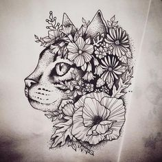 Beautiful cat covered with flowers tattoo design. Color: Black. Tags: Best, Beautiful