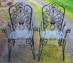 Vintage 1890s Rare Art Nouveau Victorian Southern Antique Ornate Wrought Iron Botanical Sculpture French Country Garden Cottage Chairs. $2,950.00, via Etsy.