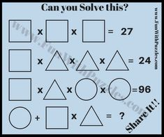 Here are many mathematical picture puzzles for kids where one has to solve the math equations using the given objects in the puzzle pictures. Most of these picture puzzles are easy and kids will enjoy solving these fun brain teasers. Math Riddles With Answers, Brain Teasers With Answers, Brain Teasers Riddles, Brain Teasers For Kids, Brain Teaser Puzzles, Math Logic Puzzles, Mind Puzzles, Puzzles For Kids, Maths Riddles