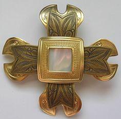 Vintage Damascene Faux MOP Maltese Cross Brooch Pin Enamel Gold-Tone #Unbranded