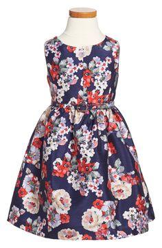Pippa & Julie Print Shantung Fit & Flare Dress (Toddler Girls, Little Girls & Big Girls)