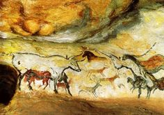 Cave paintings are painted drawings on cave walls or ceilings, mainly of prehistoric origin, to some 40,000 years ago in both Asia and Europe.