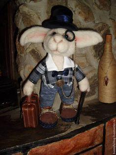 Купить Заяц - белый, натуральная шерсть, Игрушки из шерсти, Сухое валяние, оригинальный подарок