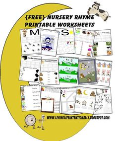 FREE Nursery Rhymes worksheets, lapbook, and more. SO CUTE! Perfect for Toddler, Preschool, and Kindergarten age kids