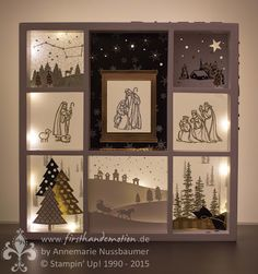 First Hand Emotion Christmas Shadow Boxes, 3d Christmas, Christmas Frames, Stampin Up Christmas, Christmas Cards To Make, Xmas Cards, Handmade Christmas, Christmas Decorations, Christmas Nativity