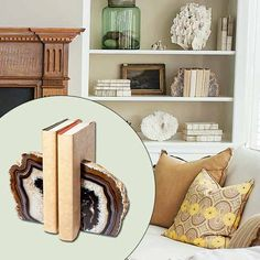 Agate geodes, split and shined, are handsome bookends for a home office or library. About $45 from thegemshop.com | Photo: John Gruen | thisoldhouse.com decor, agat geod, ball jars, living rooms, idea, gift, agat bookend, hous, beach