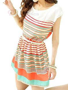 Adorable Colorful Striped A-line Pleated Tie-waist Dress - BuyTrends.com