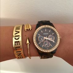 Fossil Watch Dark Tortoise Shell and rose gold with diamonds. Perfect condition. Adjustable. NAME AND ARROW BRACELET ARE NOT FOR SALE ❗️❗️ Fossil Accessories Watches