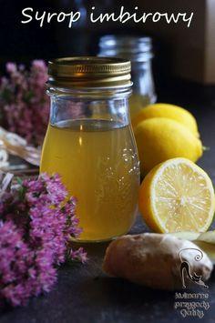 Syrop-imbirowy-na-jesienne-przeziebienia-i-wzmocnienie-odpornosci Fruit Recipes, Pickles, Cucumber, Mason Jars, Food And Drink, Drinks, Eat, Tableware, Foods