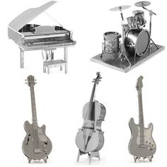 Set of 5: Musical Instruments Metal Models //Price: $59.95 & FREE Shipping //     #3DMetaltoys #Metal #Puzzle #3D #3DPuzzle #metalpuzzle #metalpuzzles #3dmetalpuzzles