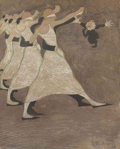 Les danseurs, Léon Spilliaert. Belgian Symbolist Painter (1881 - 1946)