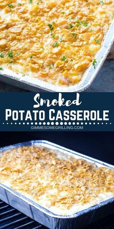 Classic Cheesy Potato Casserole made with hash brown potatoes and a buttery corn. - Classic Cheesy Potato Casserole made with hash brown potatoes and a buttery corn flake topping and - Smoker Grill Recipes, Smoker Cooking, Grilling Recipes, Electric Smoker Recipes, Grilling Tips, Cheesy Potato Casserole, Cheesy Potatoes, Mashed Potatoes, Recipes