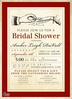 Vintage Bridal Shower Invitation Design
