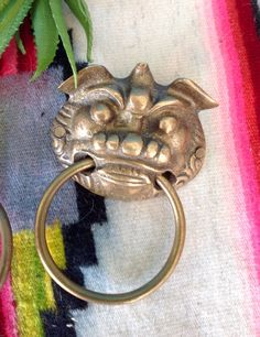 Vintage Large Figural Brass Ring Drawer Pull Brass Knob Oval