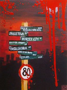 Fan art of all the street names mentioned in Green Day songs; totally geeking out right now.
