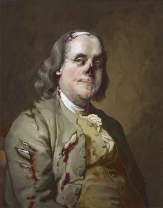 Zombie Benjamin Franklin 11x14