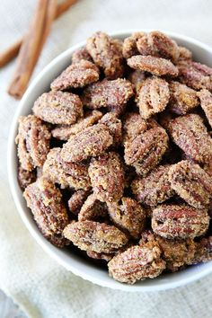 Candied Pecans Recipe on twopeasandtheirpod.com They are a great topping for salads, main dishes, desserts, and make a great gift too!