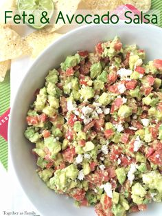 Feat & Avocado Salsa is the perfect simple appetizer for your football parties or other gatherings from my contributor Jessica- Love, Pasta and a Tool Belt | appetizers | dips | chips | recipes | food | sides |