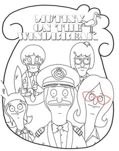 Line Art For Embroidery Bobs Burgers Colouring Page