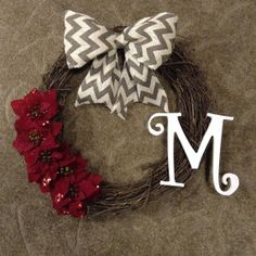 Holiday wreath with burlap chevron bow