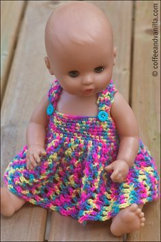 crochet doll dress patterns for barbies baby dolls teddies teddy bears Crochet Doll Dress, Crochet Doll Clothes, Crochet Doll Pattern, Knitted Dolls, Crochet Dresses, Crochet Poncho, Dress Sewing, Baby Patterns, Fashion Dolls