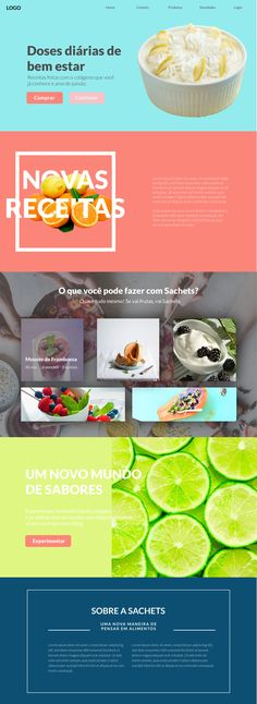 Landing Page web design. Site about recipes, pretty young air and modern