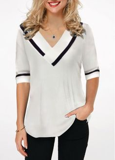 Women& White Tunic Casual Blouse Contrast Striped Printed V Neck Half Sleeve Top By Rosewe Contrast Stripe V Neck Half Sleeve Blouse in 2019 Stylish Tops For Girls, Trendy Tops For Women, African Shirts For Ladies, Yellow Long Sleeve Shirt, Summer Outfits Women, Boho Tops, Clothes For Women, Wedding Wear, Yoga Pants