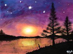 """CRISTALINA VANAGLORIA"" by Daniel Reynoso (Ankhsethamon). acrylic painting Morgan Morgan, Arts And Crafts, Paintings, Celestial, Sunset, Night, Outdoor, Outdoors, Paint"