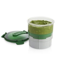 Mastered your homemade guacamole recipe? Keep it safe from oxidation longer with this airtight container. It also pushes the dip up from the bottom, so you'll never have to scrape the sides for a good dollop for your chip.