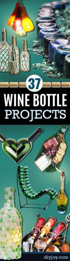 Garrafa de Vinho Crafts DIY - Projetos para luzes, decoração, ideias, casamento, Natal.  Fácil Idéias vidro de corte para Home Decor no Pinterest http://diyjoy.com/wine-bottle-crafts