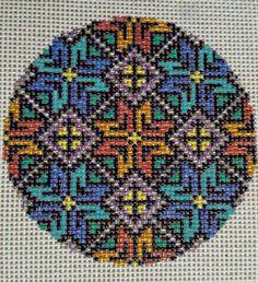 Hermoso Pintado A MANO Ornamento de lona de bordado de HP Malla de 18 geométrica