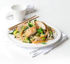 Miso chicken and soba noodle salad - Healthy Food Guide Healthy Noodle Recipes, Healthy Chinese Recipes, Healthy Salads, Healthy Food, Miso Chicken, Soba Noodles, How To Cook Chicken, Dinner Recipes, Meals
